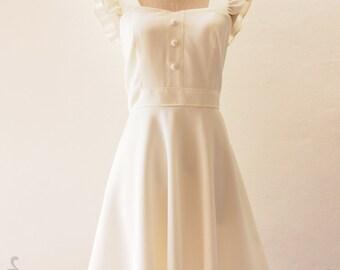 White Bridesmaid Dress White Tea Party Dress White Sleeve Dress Vintage Sundress Wedding Dress White Bohemian Dress -Olivia- XS-XL, Custom