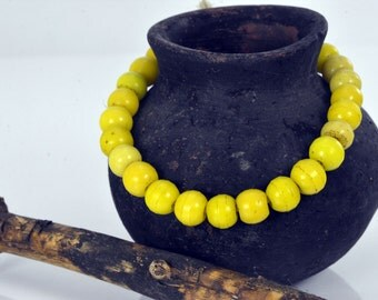 20 Rare old Proserr Yellow glass trade beads beads african trade