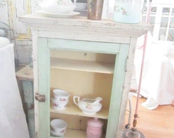 Vintage Chippy white and minty green shabby chic cupboard shelf shabby chic cottage chic