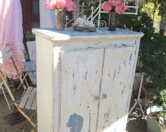 Reserved Vintage Chippy white shabby chic cupboard with shelves shabby chic cottage chic