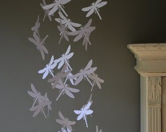 Dragonfly nursery mobile / baby mobile made with white dragonflies --- Dragonfly babyshower, nursery art, nursery decor