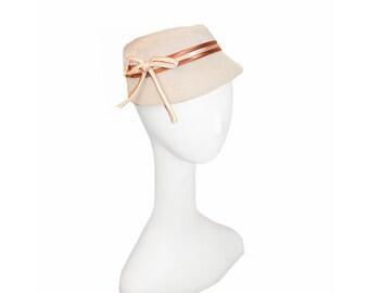 1950s Velvet Hat, Cream with Orange & Rust Cord Hatband, Bow
