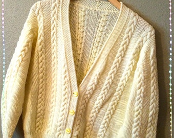 Lemon Yellow Fall Cardigan size large