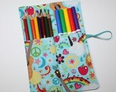 Pencil Roll, Peace Guitars & Rainbows fabric holds Colored Pencils, Markers, Sharpies, Pencil Case Organizer, Rollup, Pencil holder