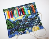 Artist's Colored Pencil Organizer Roll Carrier Folder, Starry Night fabric holds Pencils Markers Sharpies Twistables, holds 24+