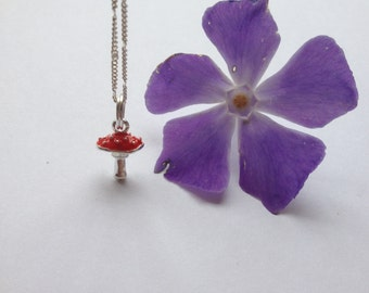 Toadstool charm necklace fairy necklace - woodland nature