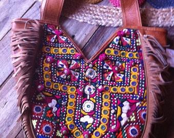 Vintage Banjara Textile/Leather/Fringe Shoulder Bag
