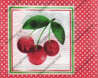Decoupage Napkins, Paper napkins, Cherry napkins, cherry pattern, polka dot, dots pattern, fruit, fruit napkins, red, red napkins, kitchen,