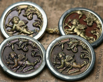 Vintage Metal Picture Buttons - 4pc - Cupid figure