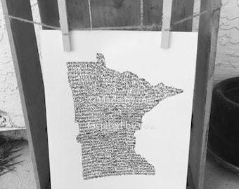 Typography Print. Handwritten. Art. State Art. Minnesota Art. Minnesota cities and towns. 8.5 X 11. Minnesota Wall Art.Minnesota Unique Gift