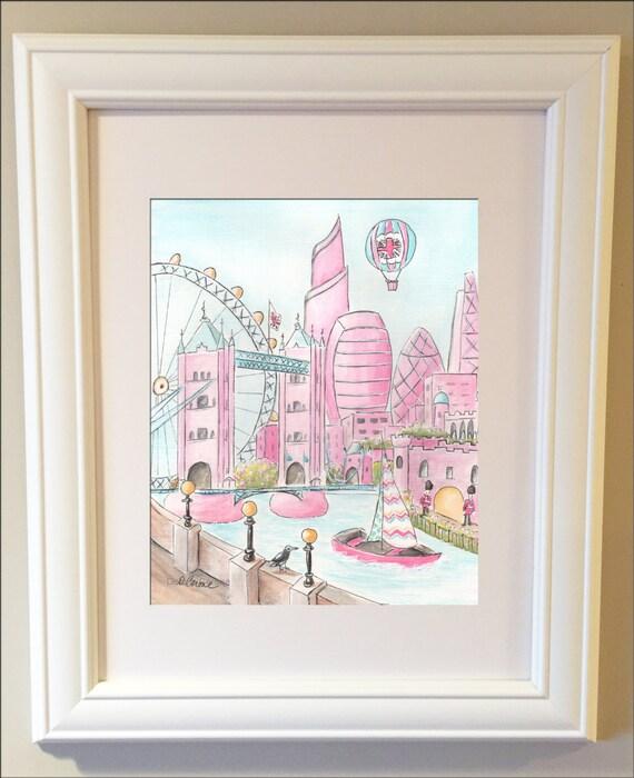 Travel Themed Nursery Wall Art London Skyline By