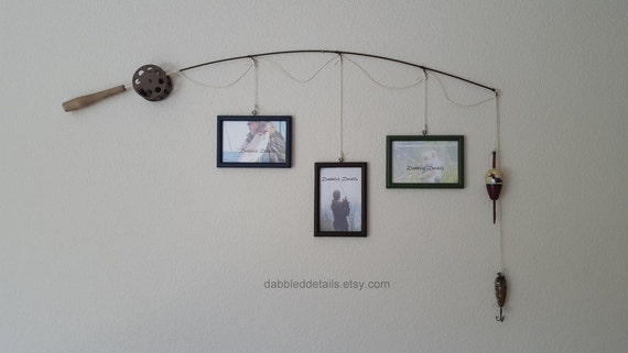 Fishing Pole Picture Frame - Brown or Silver Pole - 3 - 4 in x 6 in Picture Frames - Midnight Blue, Bittersweet Choc, Forest