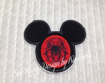 Spiderman Inspired MOUSE Head Characters  Iron on  Appliqué Patch