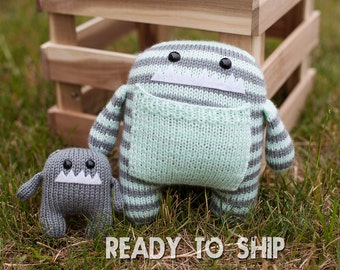 Mint and Gray Momma and Baby Hand Knit Monster Stuffed Animals.
