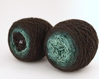 Hand Dyed Fingering/Sock Yarn, Gradient Sock, Superwash Merino / Nylon, A Fine Fir