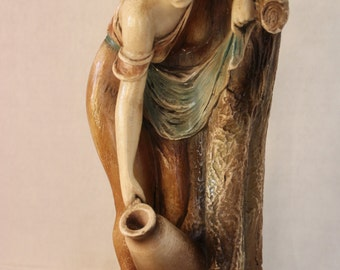 Large Huge Vintage 1920's Chalkware Statue Lady with Jug
