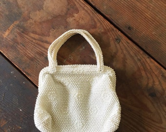 Vintage Beaded Purse Hand Bag Antique Corde-Bead Purse 1940s Cream White Lined