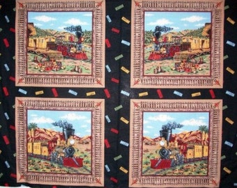 Reserved for Robin, 2 Panels, Antique Train Pillow Panel, Train Fabric, Trains, Rail Road Fabric, Travel Fabric, 01009A