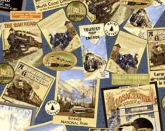 Train Fabric, Locomotion by Benartex, Trains, RailRoad Fabric, Travel Fabric, 012020