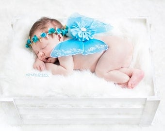 Turquoise Baby Wings and Flower Crown - Newborn Photo Prop Luxe Baby Wings Photography Prop Glitter Wings