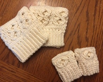 Instant Download Pattern Mommy and Me Crocheted Boot Cuffs in Four Sizes!