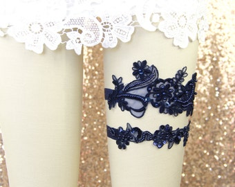 Wedding Garter Set,Navy Beaded Lace Wedding Garter Set, Navy Lace Garter Set, Toss Garter , Wedding Garter Belt/ GT-65