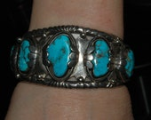 The Best Old Navajo High Grade Morenci Turquoise Silver Bracelet 86 Grams