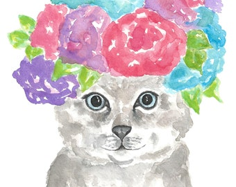 Watercolor animals, cat print, funny cat art, flower art, cat flower crown, watercolor cat, cat art, flower print, watercolor cat print