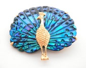 Beautiful Vintage 1950s Peacock Brooch, Carved Abalone Feathers, New Zealand Blue Paua Shell