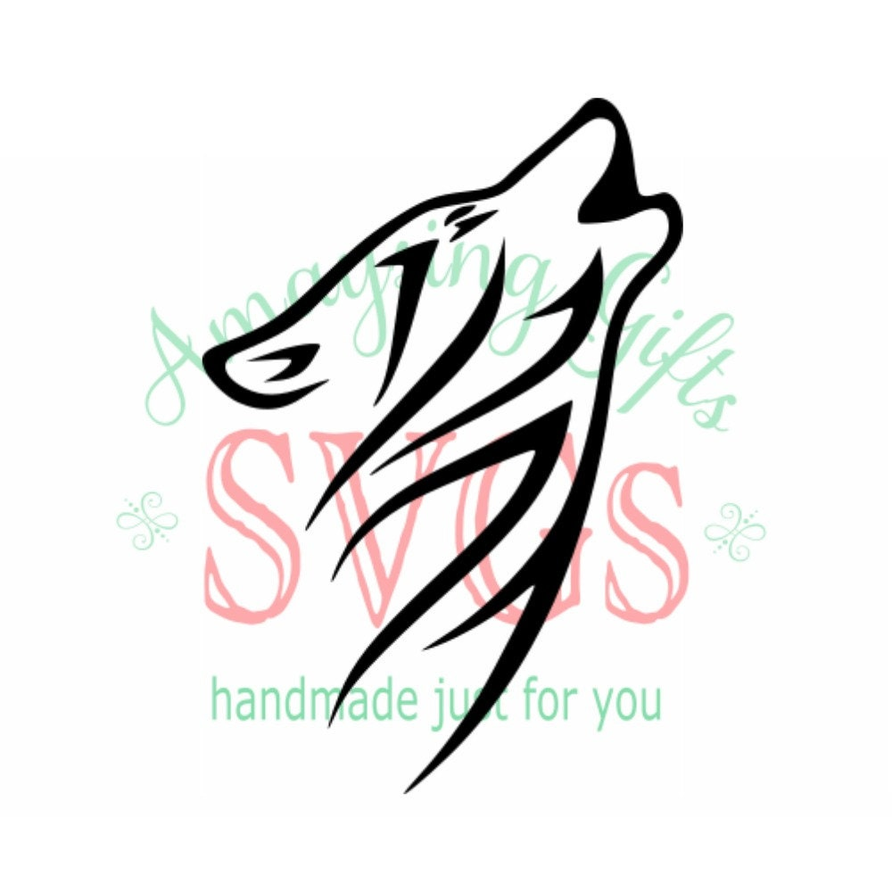 Svg Tribal Wolf Dxf Wolf Wolf Howling Wall Decal