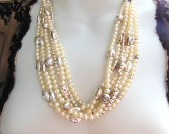 Vintage India White Faux Pearl Silver Bead Layer Multi-Strand Bollywood Necklace