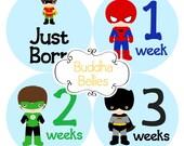 Superhero Baby Monthly Stickers BUNDLE Baby Boy Hero Month Stickers Baby Photo Stickers Milestone Stickers Super Hero Baby Shower Decals