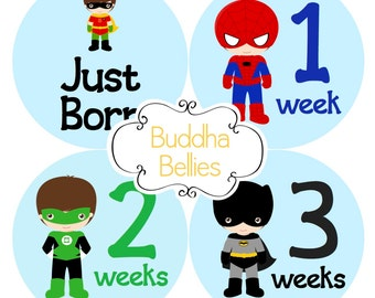 Superhero Baby Monthly Stickers BUNDLE Baby Boy Hero Month Stickers Baby Photo Stickers Milestone Stickers Super Hero Baby Shower Decals