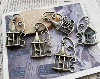 20pcs 21×35mm antique bronze birdcage charms pendant C3377