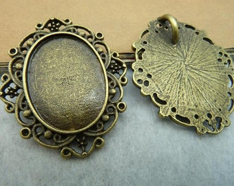 10pcs 25x18mm antique bronze cabochon pendant settings C2675