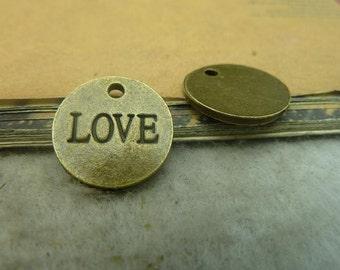 20pcs 16mm antique bronze circle love charms pendant C3446