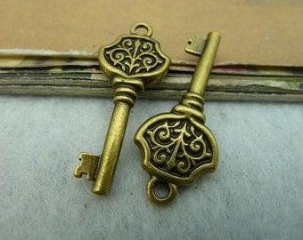 10pcs 15*25mm antique bronze key charms pendant C3122