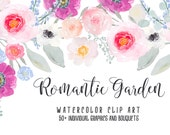 Romantic Garden Hand Painted Watercolor Clipart Clip Art Personal Commercial Use peony ranunculus posy blossom rose pink gold ethereal soft