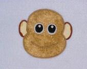 Applique Monkey, Applique animal design, embroidery file, instant download, digitized appliqué monkey file, embroidery machine