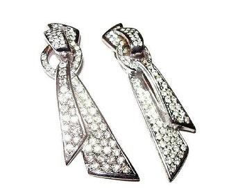 """Carolee Rhinestone Clip On Earrings Signed Silver Metal Wedding 2.5"""" Vintage"""