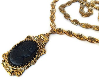 """Victorian Cameo Pendant Necklace Black Lava Glass Gold Flower Chain High End 24"""" Vintage"""