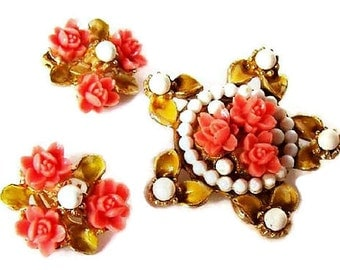 Coral Brooch Earring Demi Set Yellow Enamel White Bead & Carved Flowers Vintage 1950s