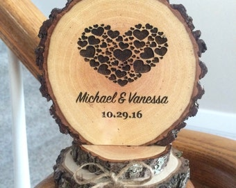 Rustic Wood Wedding Cake Topper, Wood Slice Topper, Custom Cake Topper, Engraved Cake Topper, Heart Cake Topper, Barn Wedding