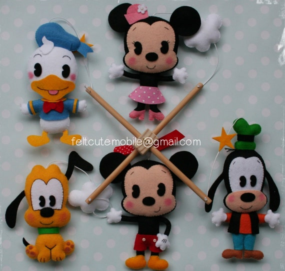 Disney nursery decor felt crib mobile mickey mouse crib - Minnie mouse mobel ...