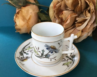 Beautiful Victorian Fine Porcelain Hand Painted Demitasse Cup and Saucer with Daisies