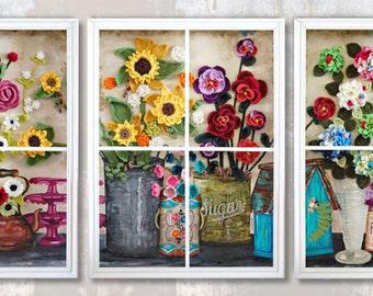 "Flower Shop Window 10' x 4' x 7"" CROCHET + PAINTING on CANVAS, Wooden Window Frames, Mixed Media, Yarn, Acrylic Ink, Triptych"