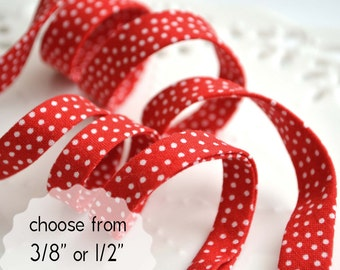 """white pindots on red - double fold, bias tape - 3 yards, CHOOSE 3/8"""" or 1/2"""" wide"""
