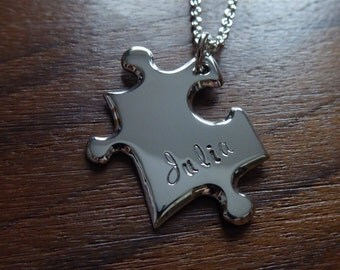 Personalised Silver Puzzle Pendant Necklace 7
