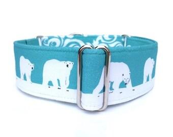 "Polar Bears Dog Collar -1"" or 1.5"" Adjustable Martingale Collar or Buckle Dog Collar"