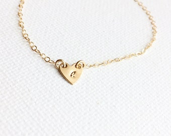 Heart Necklace, Medium Heart Necklace, Heart Initial Choker, Personalization Gift, Minimalist Jewelry, Monogram Necklace, Bridesmaid Gift